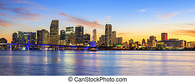 Panoramic sunset, Miami - sunset with business and ...