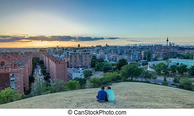 Panoramic sunset timelapse View of Madrid, Spain. Photo taken from the hills of Tio Pio Park, Vallecas-Neighborhood.