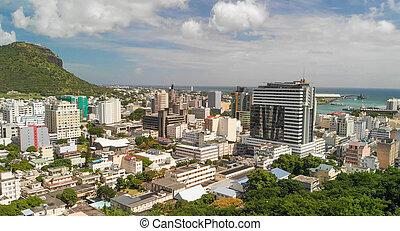 Panoramic sunset view of Port Louis skyline from city ...