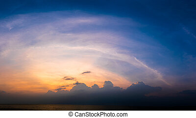 Panoramic sunset with fluffy cloud in the twilight