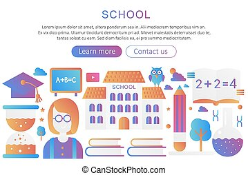 Panoramic template poster background concept with school building and teacher modern gradient vector illustration.
