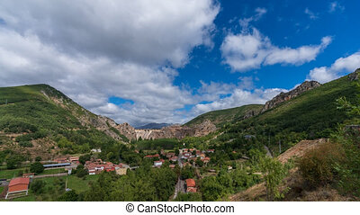 Panoramic time lapse of Barrios de Luna dam and village in Leon, Spain