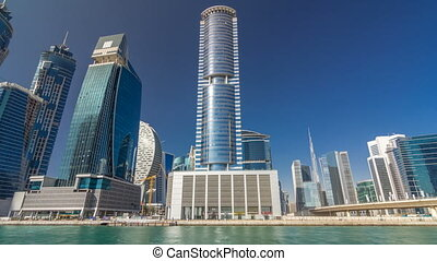 Panoramic timelapse hyperlapse view of business bay and...