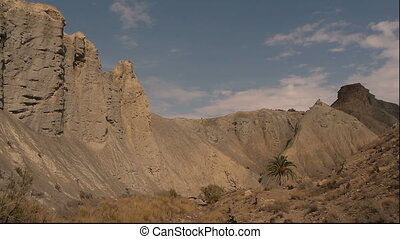 Panoramic to the right for the badlands of Tabernas desert...