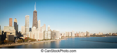 Panoramic top view Chicago skyscrapers from Michigan lake with morning autumn light
