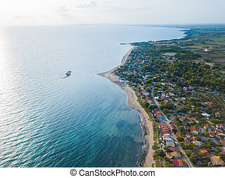 Panoramic top view of a coastal line. Aerial drone bird's eye view photo.