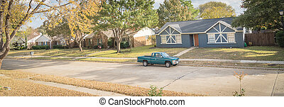 Panoramic top view residential subdivision in suburbs Dallas with colorful autumn leaves
