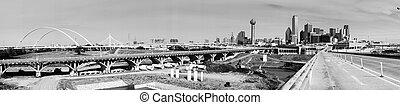 Panoramic Trinity River Basin Bridge Crossings Dallas Texas Skyline