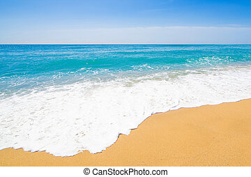 Panoramic Tropical beach with Soft wave of blue ocean, sand and transparent sky. Summer travel holiday background concept. Sea panorama