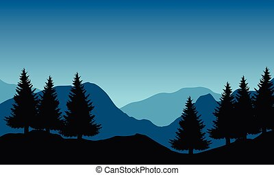 Panoramic vector illustration of mountain landscape with trees under blue sky and space for text