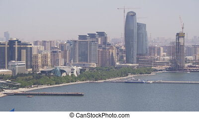 Panoramic Vew from Above to the City of Baku, Azerbaijan