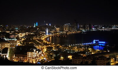 Panoramic Vew from Above to the City of Baku, Azerbaijan at Night.