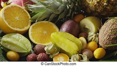 Panoramic video healthy fresh tropical fruits background...