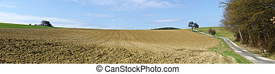 Panoramic view across fields