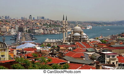 Panoramic view at crowded Instanbul, Turkey