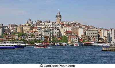 Panoramic view at Golden Horn embankment in Instanbul, Turkey