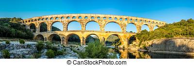 Panoramic view at Pont du Gard bridge - France