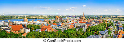 panoramic view at the city center of rostock
