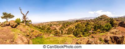Panoramic view at the Lalibela mountains