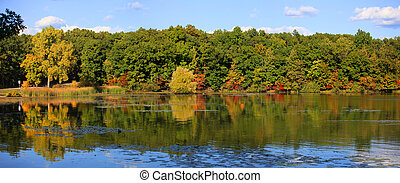 Panoramic view autumn reflections