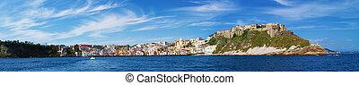 Panoramic view coast from sea of Procida Island, Naples