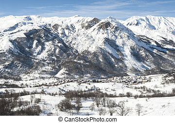 Panoramic view down a mountain valley