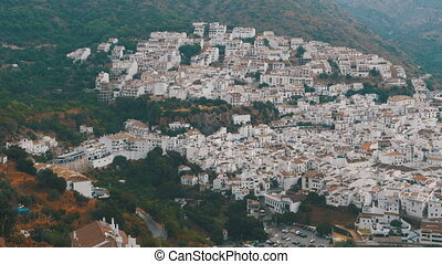 Panoramic view from above of a white village in the...