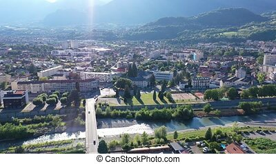 Panoramic view from above on the city Albertville. France
