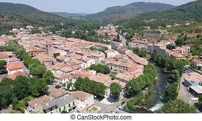 Panoramic view from above on the city Quillan. France