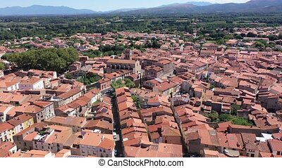 Panoramic view from above on the picturesque city Millas. France
