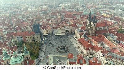 Panoramic view from above on the Prague Castle. Aerial of the city, view from above on the cityscape of Prague. Flight over the city, top view, Old Town Square, Prague