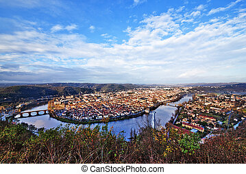 Panoramic view from above to Cahors town surrounded by Lot river and hills
