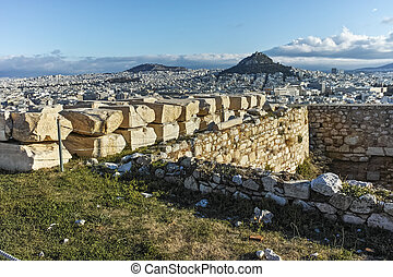 Panoramic view from Acropolis to city of Athens, Attica,...