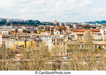 Panoramic view from Aventine Hill, Rome, Italy. Tilt-shift effect applied