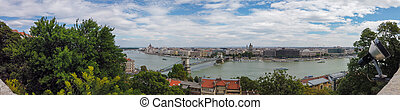 Panoramic view from Fisherman's Bastion in Budapest city, Hungary
