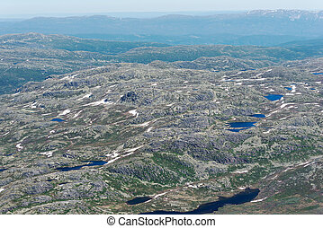 Panoramic view from Gaustatoppen mountain at sunny summer day, Telemark, Norway