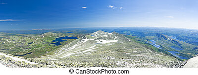 Panoramic view from Gaustatoppen mountain at sunny summer day