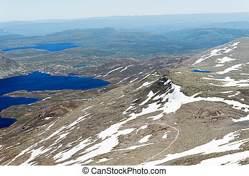 Panoramic view from Gaustatoppen mountain at sunny summer day, Telemark