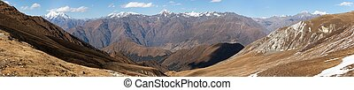 Panoramic view from Jang La pass to Lower Dolpo area,...