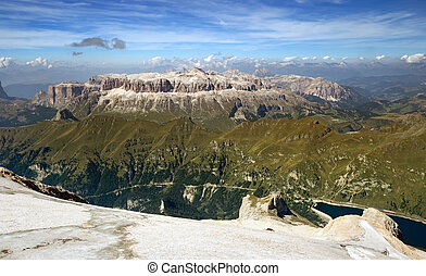 panoramic view from marmolada mountain in south tyrol