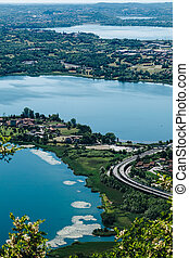 Panoramic view from Monte Barro. 3 lakes