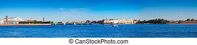 Panoramic view from Neva river. Saint Petersburg, Russia