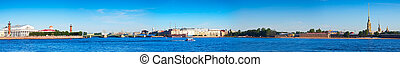 Panoramic view from Neva river. Saint Petersburg, Russia