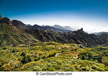 Panoramic view from  Pico de las Nieves at Gran Canaria , Spain.