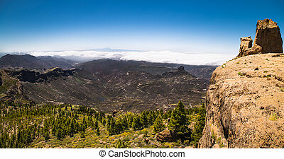 Panoramic view from  Pico de las Nieves on Gran Canaria , Spain.