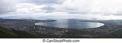 Panoramic view from the Markotkhsky ridge on Gelendzhik cloudy summer day