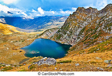 panoramic view from the mountain pass on the lake and the valley