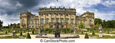 Panoramic view Harewood House stately home - Harewood House,...