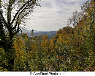 panoramic view in autumn of the hill Rechberg to the Swabian Alb