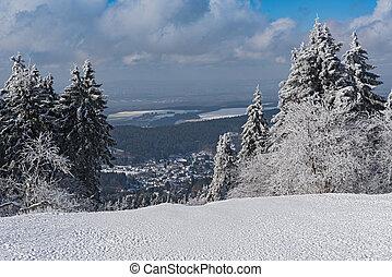 Panoramic view in winter from Feldberg Taunus to the municipality Niederreifenberg